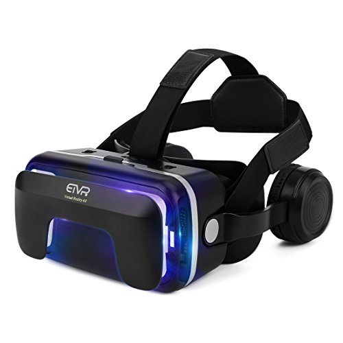 3D VR Headset, Immersive Virtual Reality Glasses with Builted-in Stereo Adjustable Headphone - Adjustable FD & PD and Comfortable Straps - for iPhone & Android Smartphones of 4.7' - 6.0'