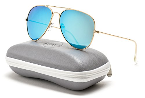 WearMe Pro - Premium Classic Fashion Design Polarized Lens Aviator Sunglasses (Gold Frame / Mirror Blue, - Blue Light Lenses