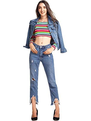 Denim Lunga Outerwear Jacket Jeans Giacca Azzurro Pulsante Cappotto Capispalla Donna Amoretu Manica FRvUIx5wnq