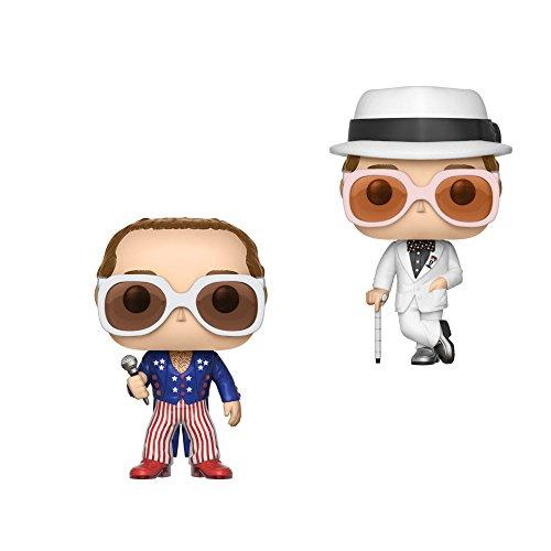 Funko Pop Rocks Series 3 Elton John (Greatest Hits) and Elton John (Red White Blue) Vinyl Figures - Glasses John Elton Red