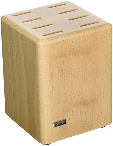 Artelegno 15 8-Piece Steak Knife Block with Rounded Edges, Solid Beech Wood Natural Lacquer Finish - Edge Magnetic Knife
