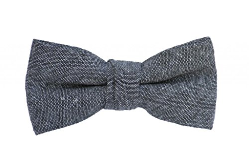 Born to Love Boys Kids Pre Tied Adjustable Bowtie Easter Holiday Party Dress Up 4 Inches Gray Chambray Linen Bow Tie