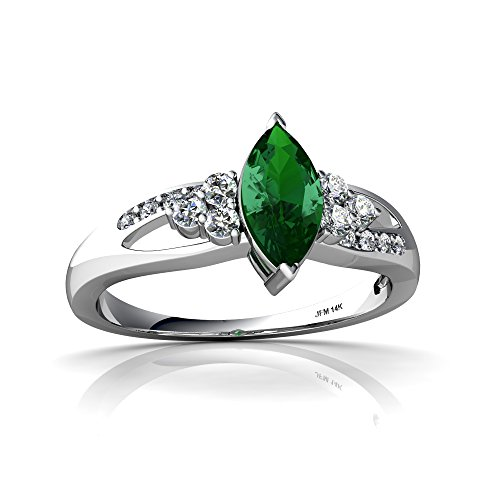 14kt White Gold Lab Emerald and Diamond 8x4mm Marquise Antique Style Ring - Size 8 ()