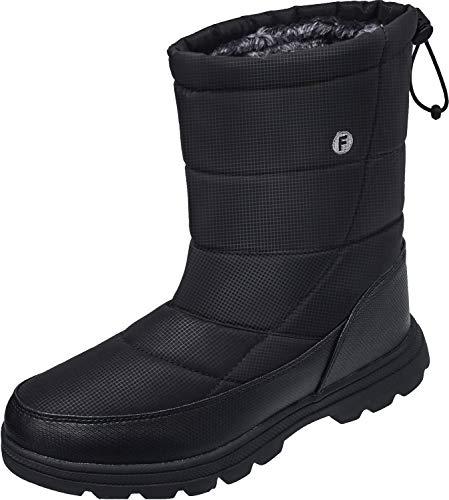 JOINFREE Unisex Mid Calf Boots Warm Waterproof Work Booties Ice Snow Anti-Slip Black Women 11 M US/Men 9 M US