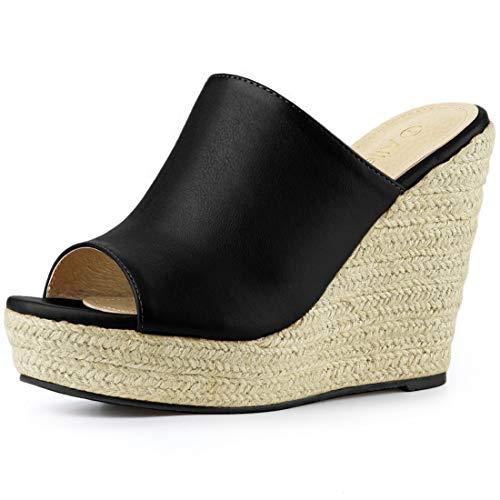 Allegra K Women's Open Toe Espadrille Heel Platform Black Mules - 7 M US