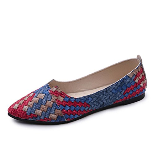 Transer Ladies Shallow Flats Shoes, Women Slip on Comfort Casual Work Loafers Leisure Shoes Blue