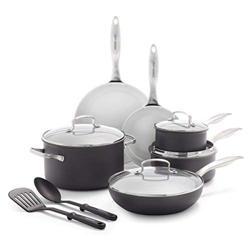 GreenLife Classic Pro Hard Anodized Healthy Ceramic Nonstick Metal Utensil/Dishwasher/Oven Safe 8 & 10-Inch Frypan Set…