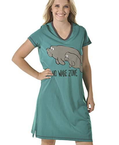Nightshirt Womens Funny - No Wake Zone Women's Animal Pajama Nightshirt by LazyOne | Cute Animal Nightgowns for Ladies (L/XL)