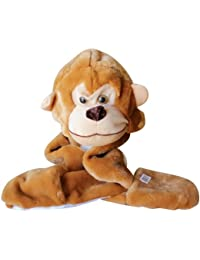 Plush Faux Fur Animal Critter Hat Cap - Soft Warm Winter Headwear - Short with Ear Poms and Flaps & Long with Scarf and Mittens available (Monkey - 3pc Scarf & Mittens)