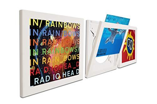 Play & Display Vinyl Record Display Frame, Displays Albums Covers, 12.5x12.5, White, Set of 3