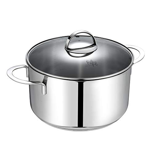 (Mr Rudolf 5 Quart 18/10 Stainless Steel 2 Handle Stock Pot with Glass Lid Dishwasher Safe PFOA Free Stockpots Casserole 24cm 5 Liter Dutch Oven)