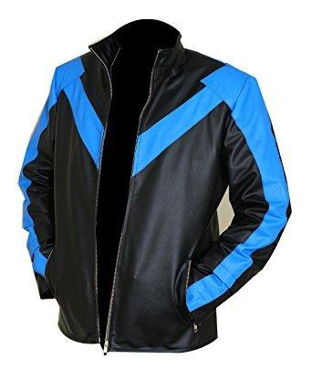 LEATHERINO Men's Leather Jacket Original Motorcycle Black With Blue Design Leather Bomber Jacket - Black Fly Sunglasses Stores