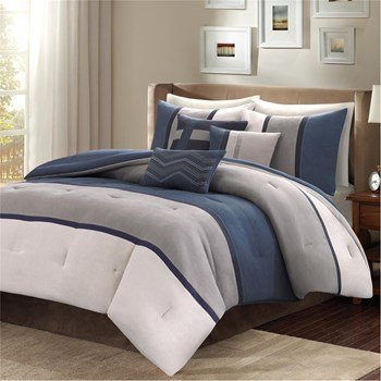 Comforter Palisades Set (Madison Park MP10-1317 Palisades 7 Piece Comforter Set44; Blue - King)