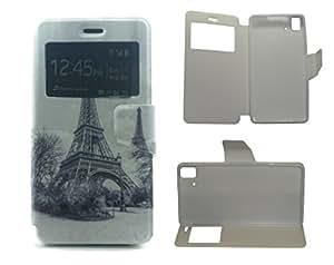 Funda Flip Libro BQ Aquaris E5 4G Paris Funcion Soporte y