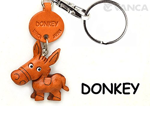 Donkey/Ass Leather Animal Small Keychain VANCA CRAFT-Collectible Keyring Charm Pendant Made in Japan