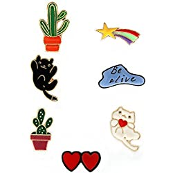 MeliMe Cute Cat Animal Floral Fruits Enamel Brooch Pins Cartoon Lapel Pins Lovely Badge for Women Kids Clothing Decoration (Cats Cactus Meteor set of 7)