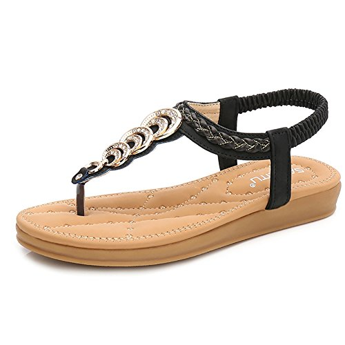 e4be4c8c8 Wollanlily Women s Rhinestone Thong Elastic Sandals Summer Beach Bohemia T-Strap  Flip Flops Flat Shoes