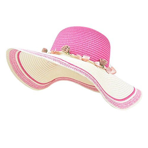 Promini Women Beach Sun Bow Tie Floppy Straw Sun Protection Hat Cap