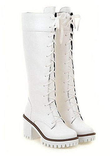 Lace Stylish Heels Toe Knee High Round White Boots Platform High Up Antiskid Stacked Aisun Tall Womens Shoes gxUYMT