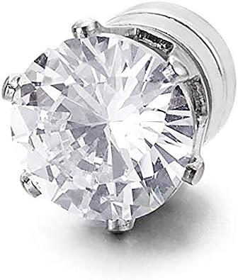 Acier Inoxydable iMECTALII Zircon cubique magn/étique pour Femme Clip Non perforant sur Le Faux trompeur