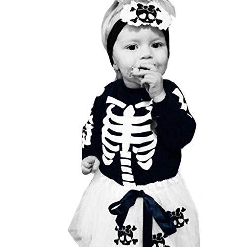Fheaven (TM) Newborn Baby Girl Skull Appliques Bodysuit Jumpsuit +Tutu Skirt + Leggings Outfits Clothes Set (Navy, 24M)