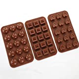 Aokinle Silicone Chocolate Molds Non Stick Candy Molds BPA Free,Mini Ice Tray Molds,Square,Hearts&Round Baking Molds Set of 3