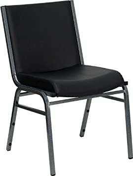 Flash Furniture HERCULES Series Heavy Duty Black Vinyl Fabric Stack Chair