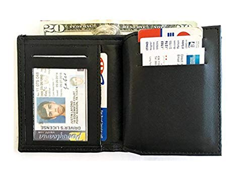 (Leather Bi-fold Flat Badge Wallet Fits California Department of Corrections Badge)