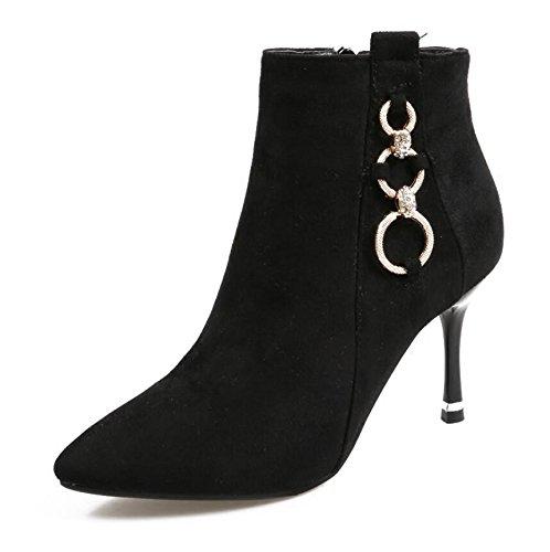 KHSKX-Black Metal Chain 8.5Cm Tipp Feine Mit Kurzen Boots High Heeled Satinierte Seite Reißverschluss Schuhe Martin Stiefel Baumwolle Blanken Stiefel 39