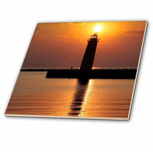 (3dRose ct_91212_1 Mi, Muskegon. Lighthouse on Lake Michigan-Us23 Rer0002-Ric Ergenbright-Ceramic Tile, 4-Inch)