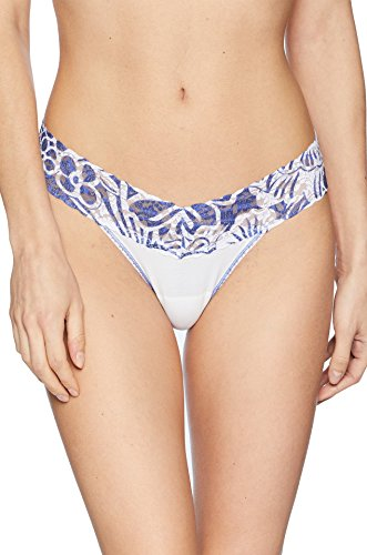 Thong Rise Panky Lace White Low Hanky (Hanky Panky Oragnic Cotton Low Rise Thong, One Size, White/Hibiscus)