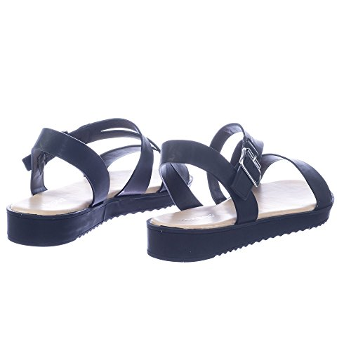 Gängade Flatform Sandal W Strappy Bur Justerbar Tvärband Svart