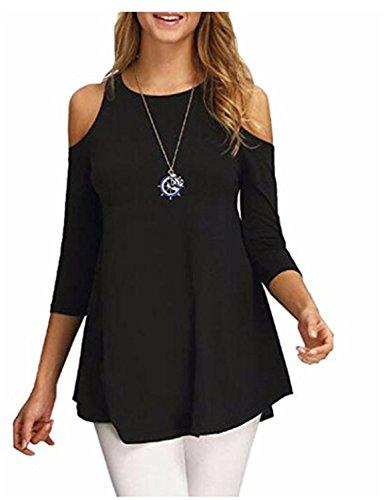 YOGLY Camisetas Mujer Verano Blusas T Shirt Cmisetas con 3/4 Mangas de Color Sólido Ocasional Camisa sin Tirantes de Mujer Suelta Negro