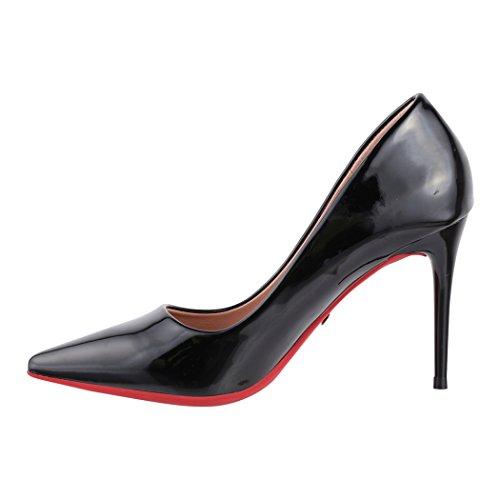Elara Paris stiletto con a scarpe chunkyrayan con con tacco Schwarz pump tacco punta comode eleganti prCqgnpw
