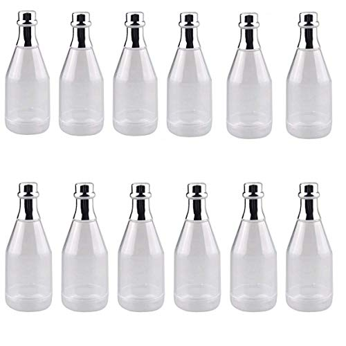 Bottles Champagne Clear (CrazyStorey Clear Champagne Bottle, Plastic Wine Bottle Style Candy Box for Wedding Party DIY Decor-12pcs)