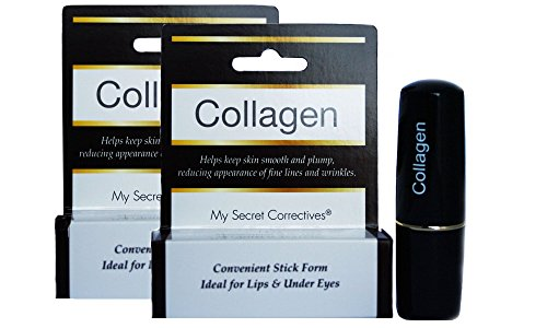 Collagen Under Eye Treatment Stick TWO PACK - Ideal for crow's feet, lip wrinkles - anti-wrinkle, anti-aging, dark circle removal, relieves eye puffiness and fine wrinkles - 2 x 0.14 ounces by My Secret Correctives