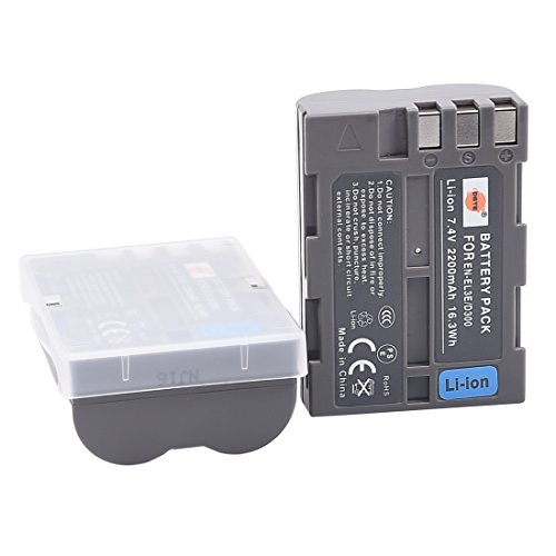 Battery D70s Pack (DSTE 2x EN-EL3E Replacement Li-ion Battery for Nikon D70 D70S D80 D90 D100 D200 D300 D300S DSLR D700 Camera as ENEL3E)