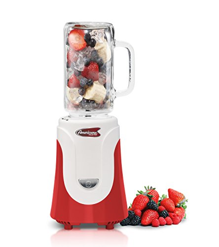 Americana EPB-6050R Personal Blender with 20 oz Glass Jar, Red by Maxi-Matic