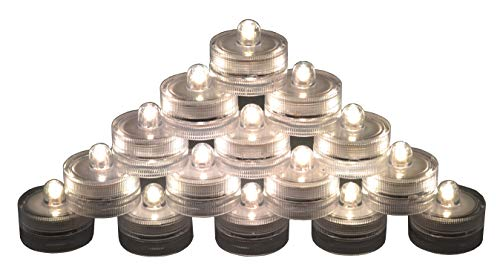 Samyo Set of 36 Waterproof Wedding Submersible Battery LED Tea Lights Underwater Sub Lights- Wedding Centerpieces Party Decorate (Warm White)