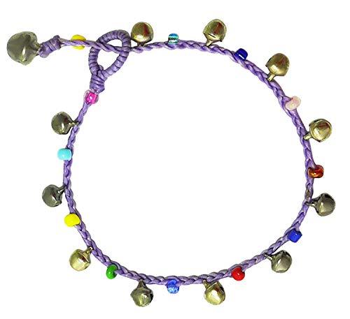 - Bijoux De Ja Handmade Varicolored Glass Bead Bells Purple Cord Anklet Bracelet 10 Inches (AkSP08)