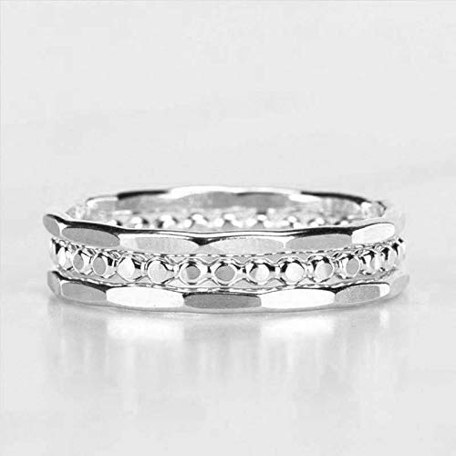 Hammered Stacking Rings - Set of 3 – Stackable bands- Custom Made Sterling Silver