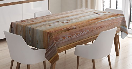 Ambesonne Rustic Home Decor Tablecloth by, Monochrome Wood Minimalist Rough Lined Up Tiled Logs Row Plank Surface Image, Dining Room Kitchen Rectangular Table Cover, 60W X 84L Inches, Cream