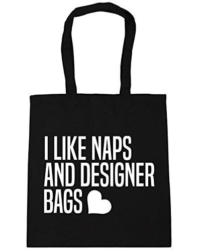 HippoWarehouse I Like Naps And Designer Bags Tote Shopping Gym Beach Bag 42cm x38cm, 10 litres Black