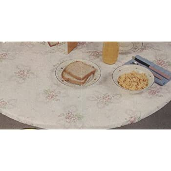 Beau Fitted Vinyl Tablecloths, 72 Inches Round To Fit A Table Of 60 Inches,  Flannel
