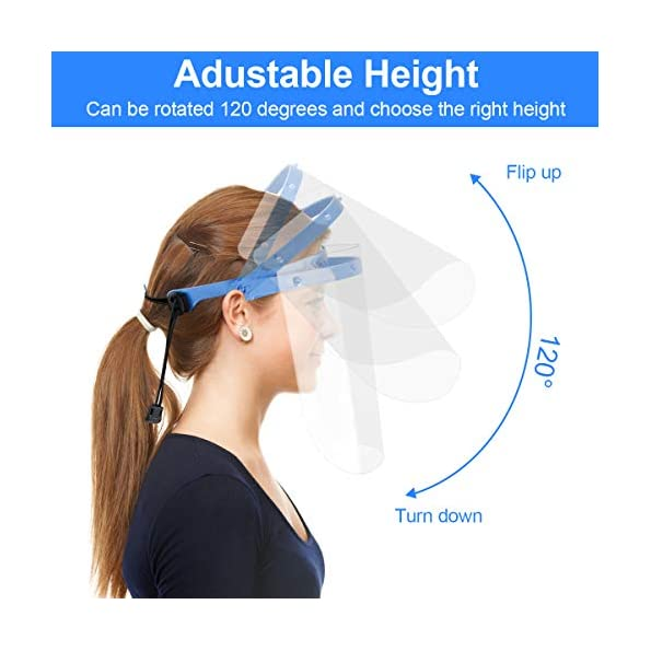 20-Stck-Gesichtsschutz-Visier-mit-3-Halterungen-UNTIRE-Anti-Fog-Schutzvisier-Face-Shield-Vollgesichts-und-Augenschutz-Transparentes-Gesichts-Schutzschild-mit-verstellbarem-Gummiband