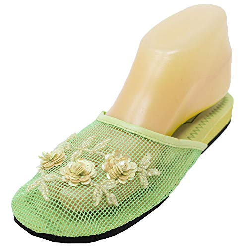 Cammie Women's Floral Beaded Mesh Chinese Slippers (7 B(M) US, Lime Green)