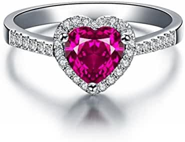 Siarola White Gold Filled 7mm Heart Shaped Ruby Ring W/ Swarovski Elements Crystal Size 5 6 7 8 9 10 R17b