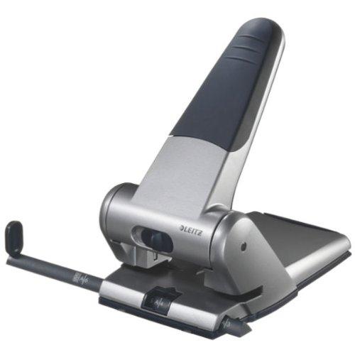 Leitz 51800084 Registraturlocher bis A3, 6,5 mm, mit Anschlagschiene, silber
