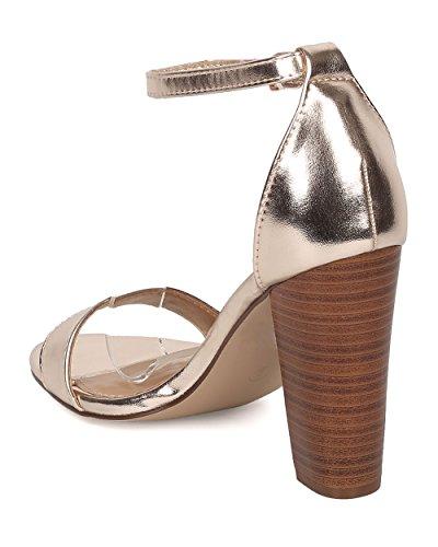 Breckelles Kvinnor Chunky Häl Sandal - Ankelbandet Blockera Häl - Minimalistisk Öppen Tå Sandal - Ha00 Av Champagne Metallic