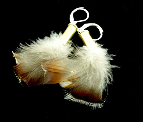 22 shell casing earrings with Wood duck feathers Sterling Silver by, Gunpowder Girl